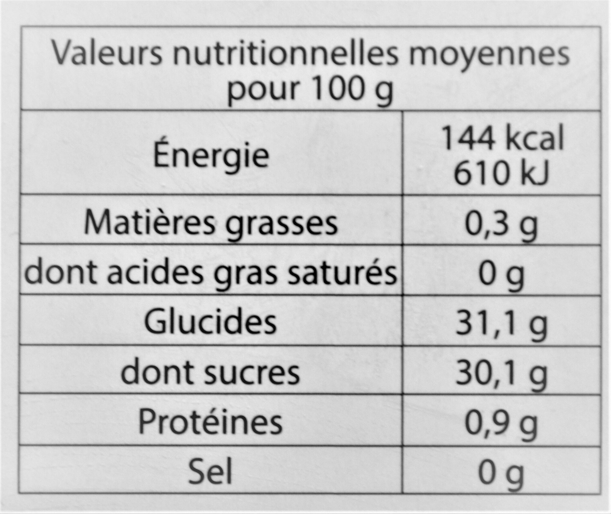 Sorbet plein fruit FRUIT DE LA PASSION, 41% de fruit - Nutrition facts