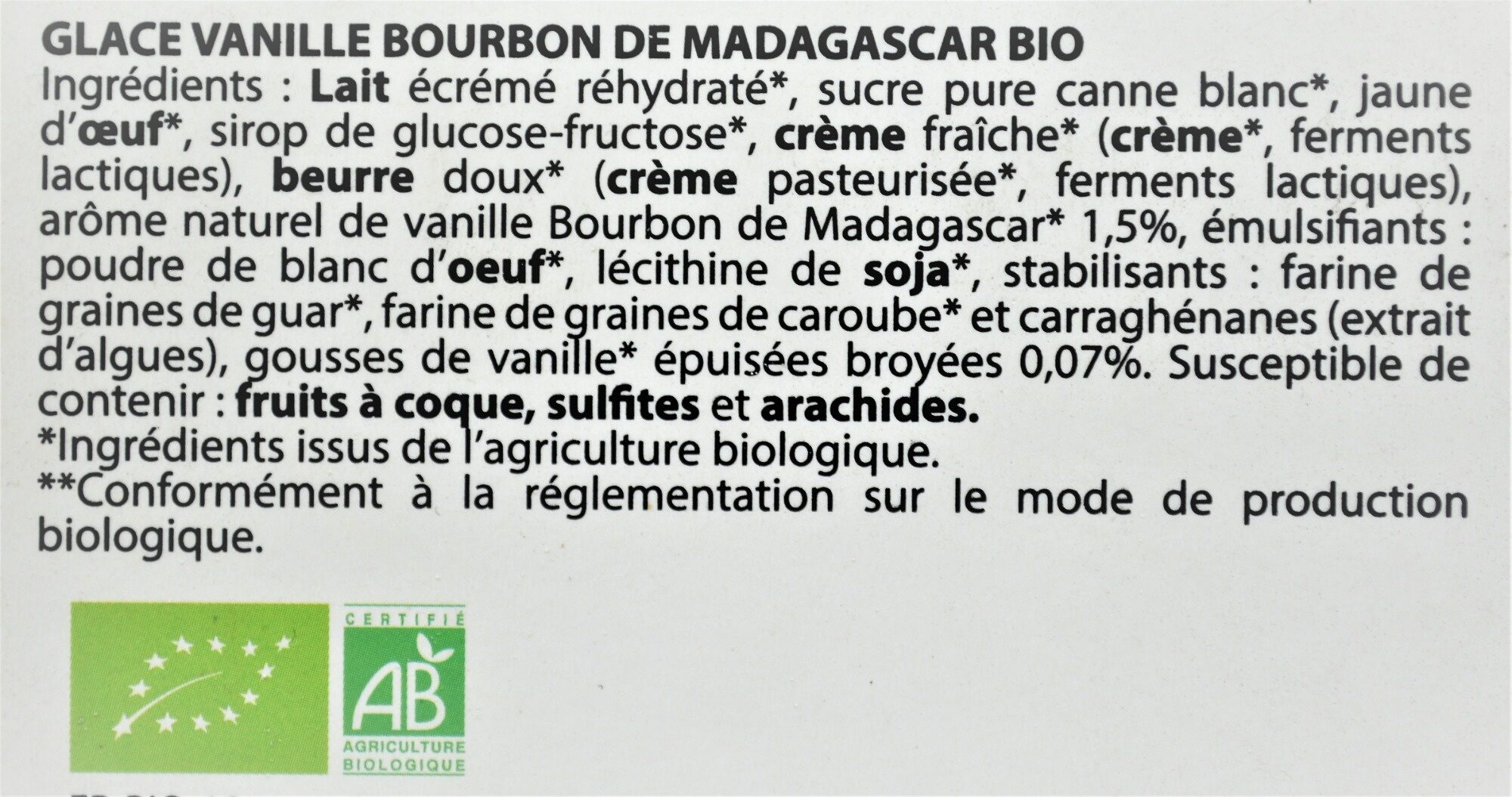 Glace VANILLE BOURBON DE MADAGASCAR BIO - Ingredients