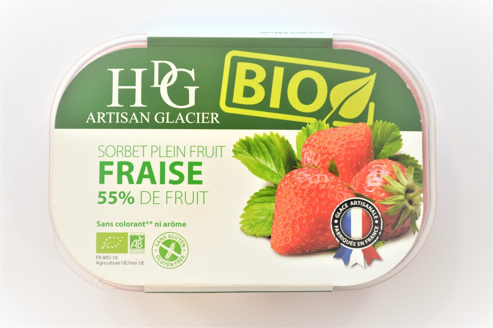 Sorbet plein fruit FRAISE BIO, 55% de fruit - Product - fr