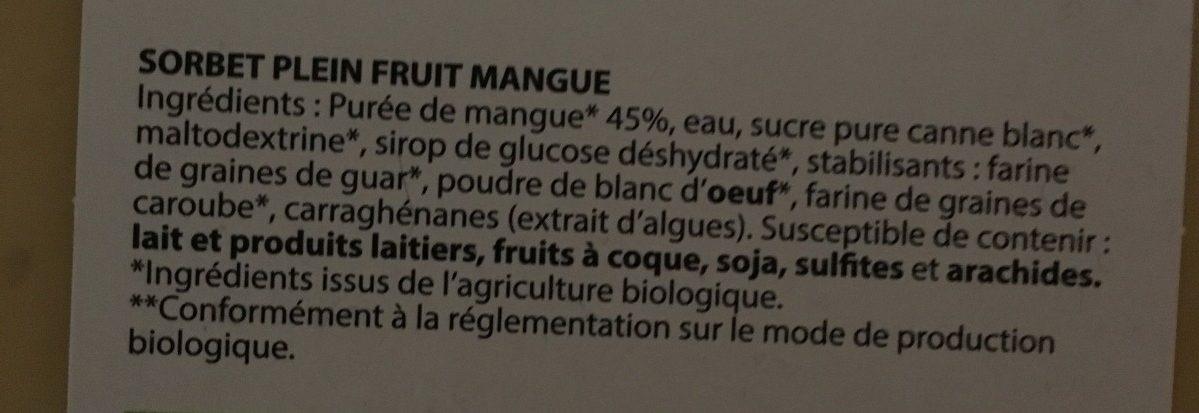 Sorbet plein fruit MANGUE BIO, 45% de fruit - Ingredients