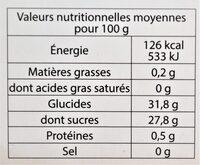 Sorbet plein fruit FRUIT DE LA PASSION BIO, 40% de fruit - Nutrition facts