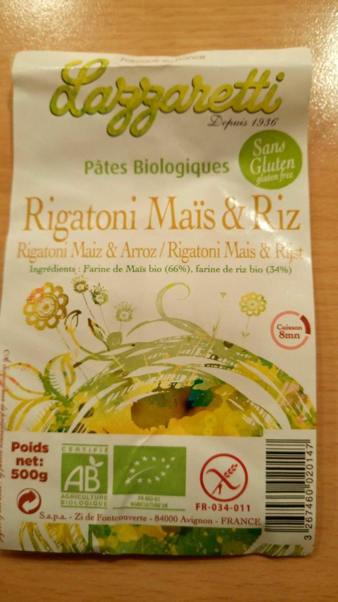 Rigatoni Maïs et Riz - Product - fr