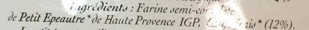 Ruban petit épeautre Haute-Provence IGP - Ingredients