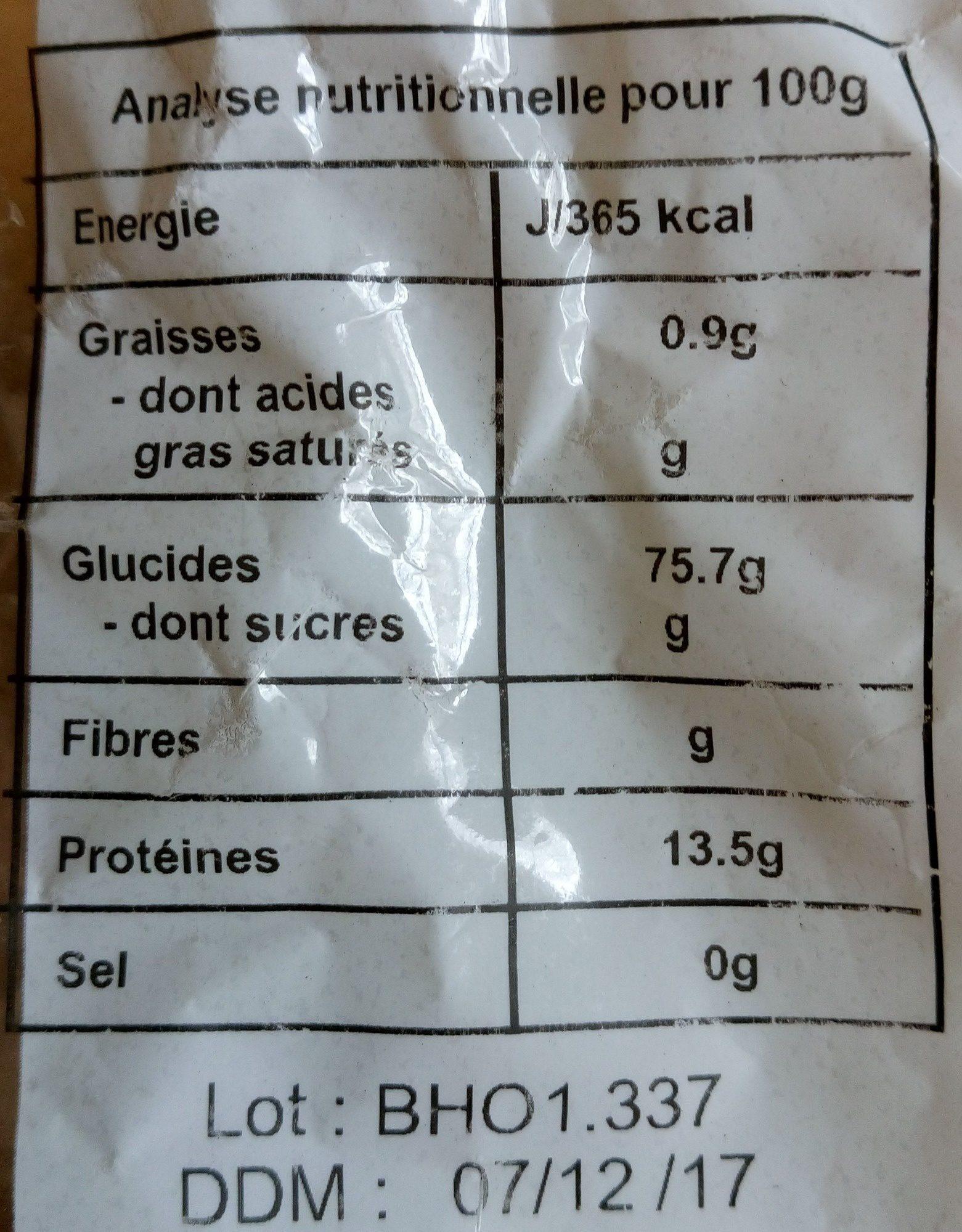 250G Papillons De Petit Epeautre - Nutrition facts - fr