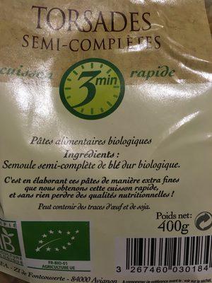 Torsades semi-complètes - Ingredients