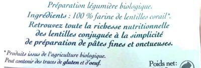 Torsade Lentilles Corail - Ingredients