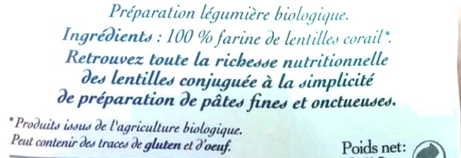 Torsade Lentilles Corail - Ingredienti - fr