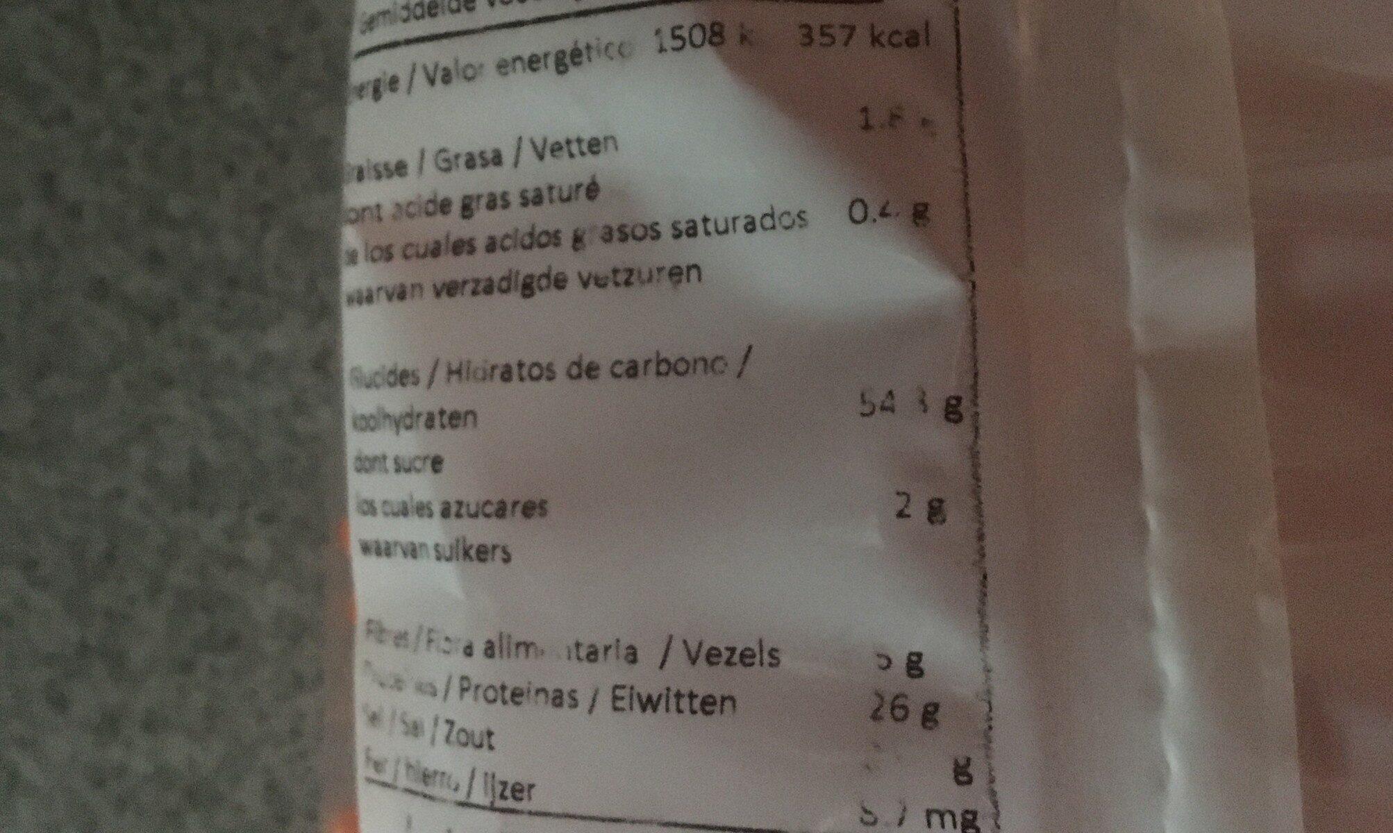 Torsade Lentilles Corail - Valori nutrizionali - fr