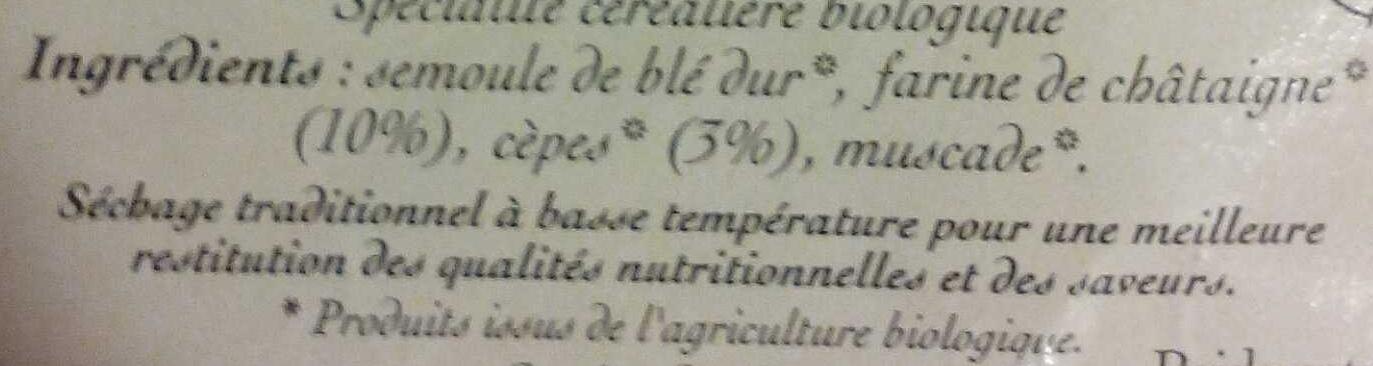 Tagliatelles aux Cèpes et Châtaignes - Ingrédients - fr