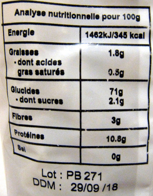 Penne - Informations nutritionnelles - fr