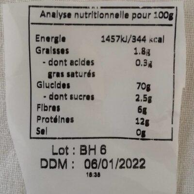 Papillon petit epautre - Nutrition facts - fr