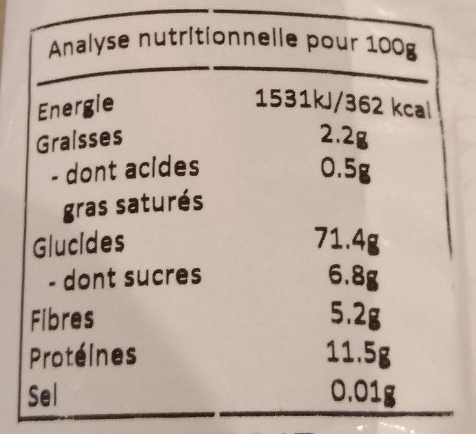 Penne Sarrasin - Nutrition facts - fr