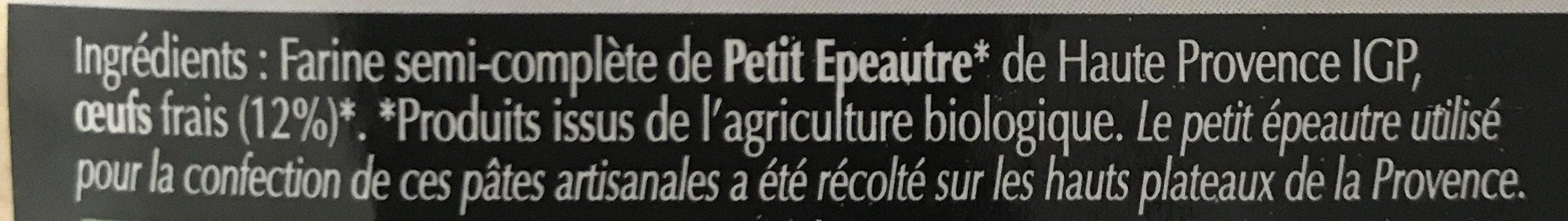 Tagliatelles de petit epeautre aux oeufs - Ingredients