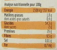 Torsades aux Lentilles Corail - Informations nutritionnelles
