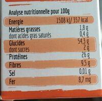 Torsade 100% lentilles corail Bio - Voedingswaarden - fr