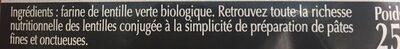 Torsades 100% lentilles verte origine France - Ingrédients - fr