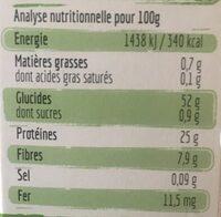 Torsades aux Lentilles Vertes - Informations nutritionnelles