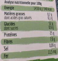 Torsades 100% lentilles verte origine France - Informations nutritionnelles - fr