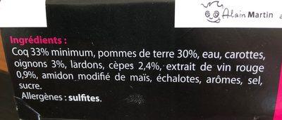 Coq au vin - Ingrédients - fr