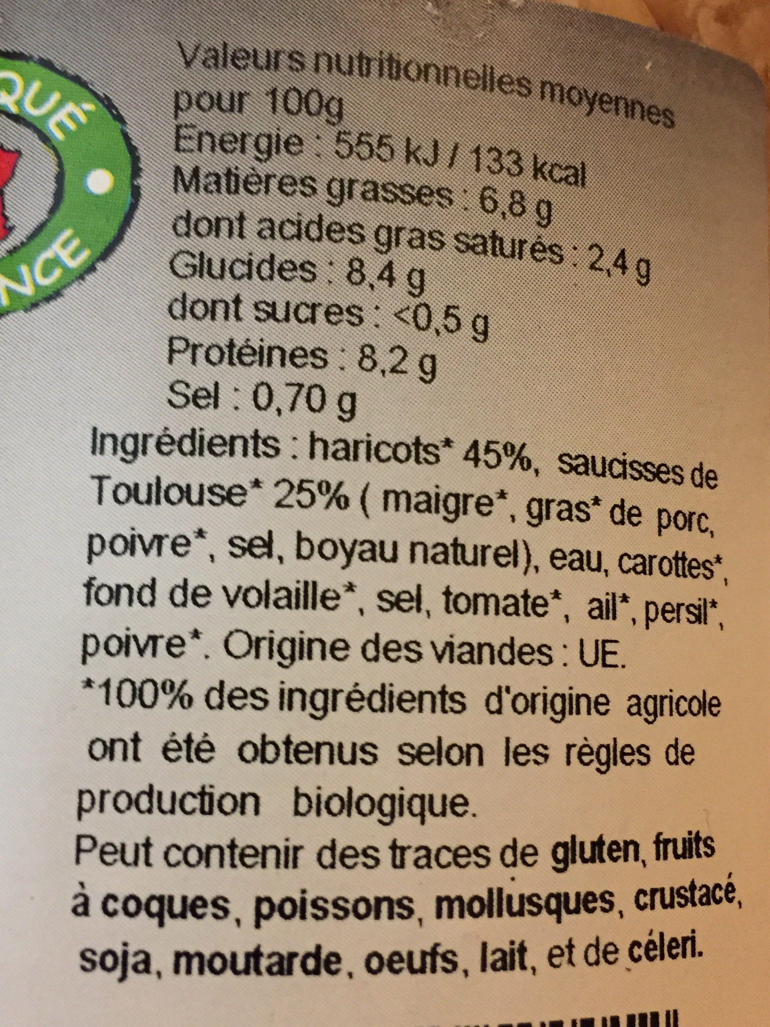 4 saucisses aux Haricots cuisinés - Ingrédients - fr
