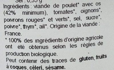 Poulet basquaise bio - Inhaltsstoffe - fr