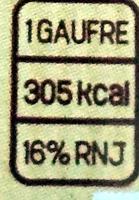 Gaufre Liégeoise Choco - Información nutricional