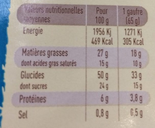 Gaufres Liègeoises Choco - Nutrition facts