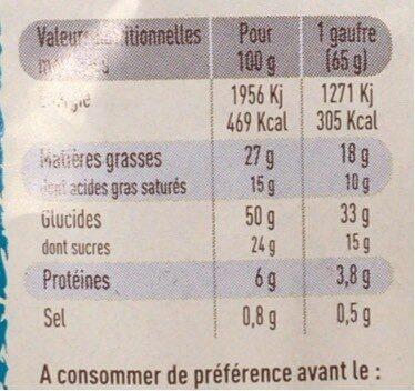 Gaufres Liègeoises Chocolat - Informations nutritionnelles - fr