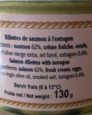 Délice de saumon à l'estragon - Ingrédients