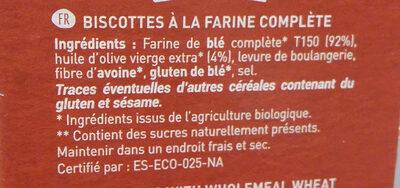 Biscottes à la farine complète - Ingrédients - fr