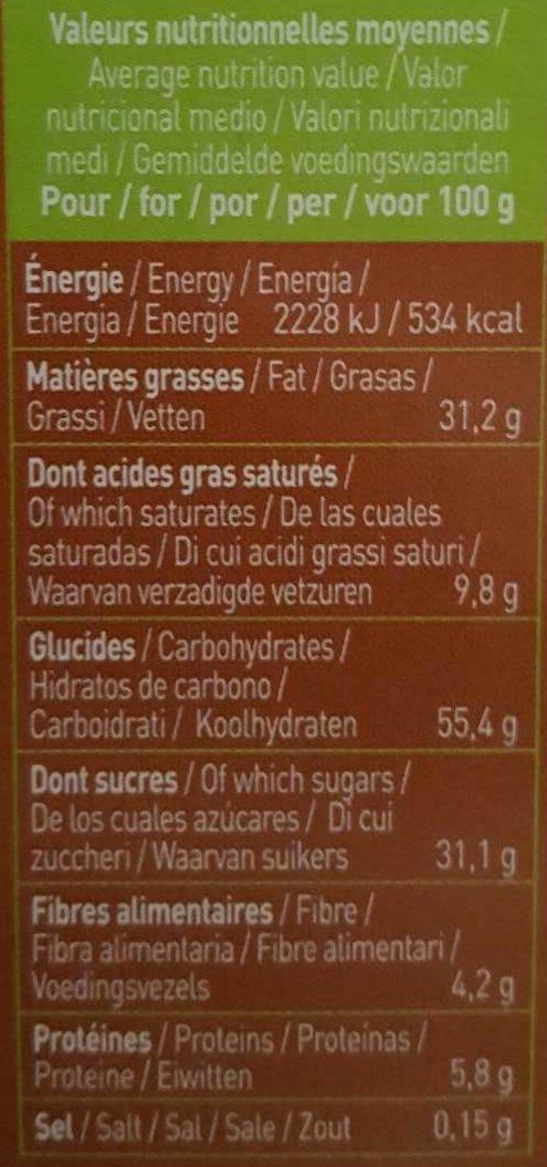 Biscuits Twibio Double Chocolat Au Lait Bio & équitable - Informations nutritionnelles