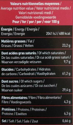 Cookies Tout choco - Chocolat Noir et Pépites de Chocolat - Nutrition facts