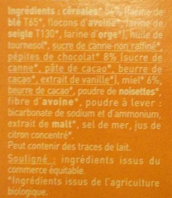 Biscuits P'tit Déj' bio - Céréales, chocolat et miel - Ingredients