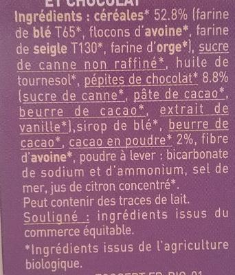 Biscuits P'tit Déj' bio Céréales & Chocolat - Ingrédients