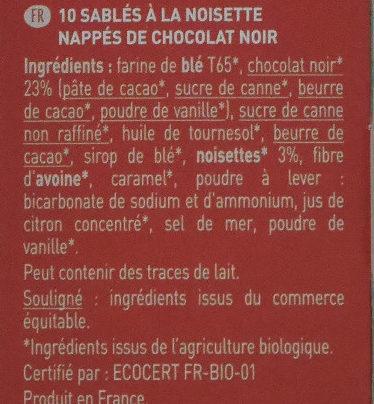 Plaisir noisette chocolat noir - Ingrediënten - fr
