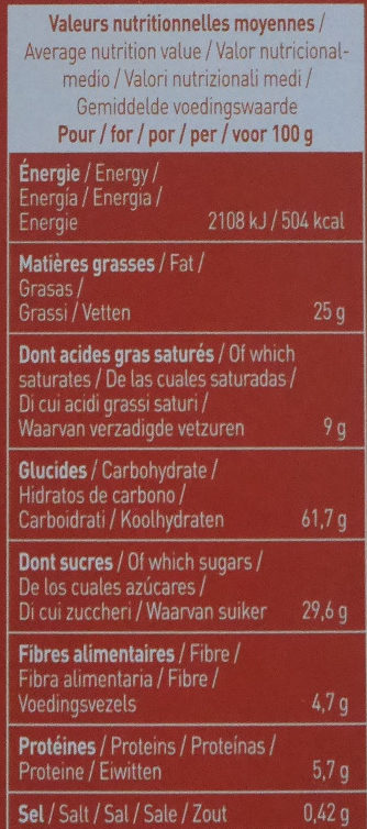 Plaisir noisette chocolat noir - Voedingswaarden - fr