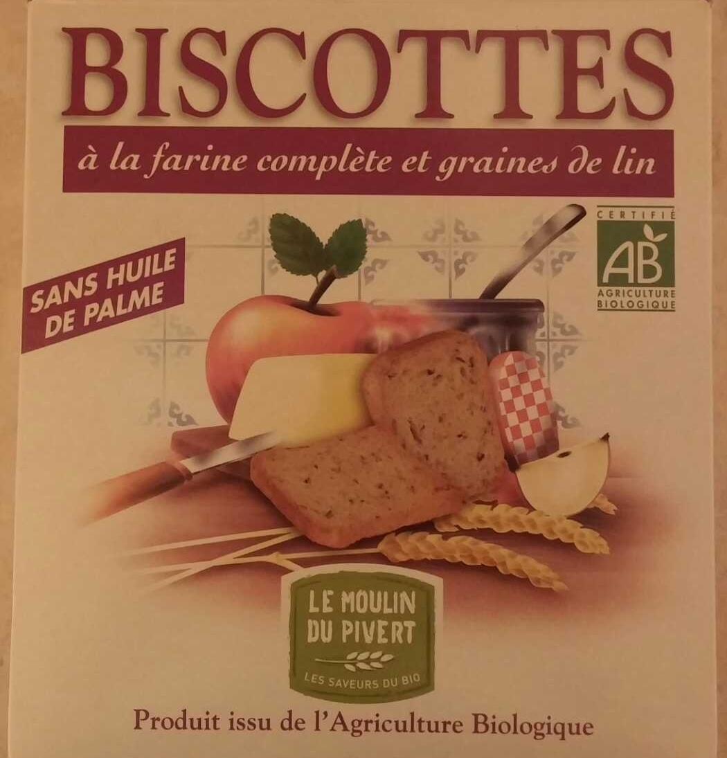 biscottes la farine compl te et graines de lin le moulin du pivert 270 g. Black Bedroom Furniture Sets. Home Design Ideas