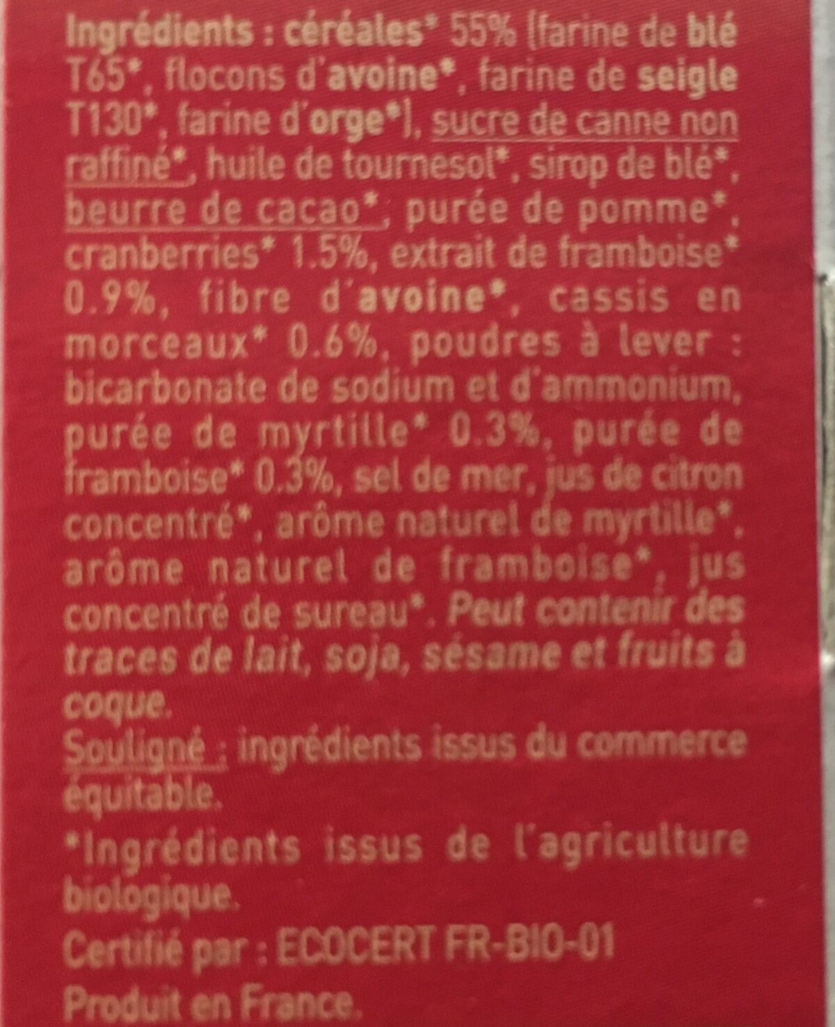 Biscuits P'tit Déj' bio - Céréales et fruits rouges - Ingredients - fr