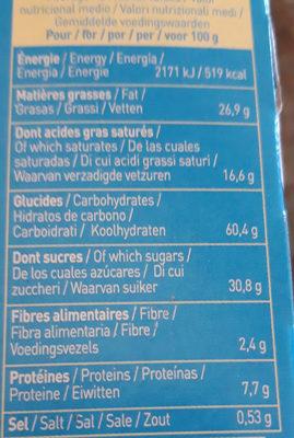 P'tiwi Choc' Chocolat au Lait - Nutrition facts - fr