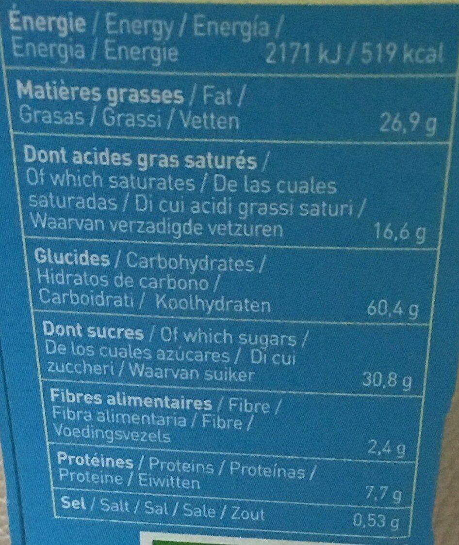 Biscuit P'tiwi Choc' Chocolat au lait - Valori nutrizionali - fr