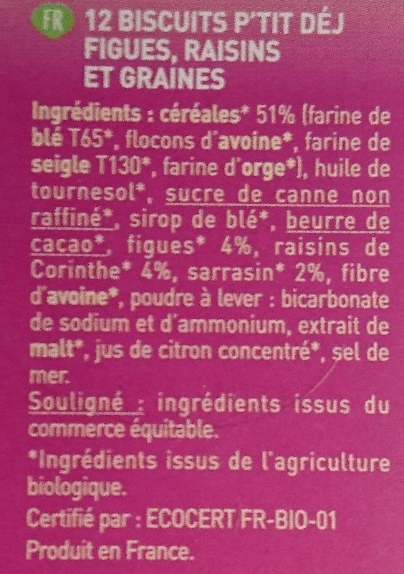Biscuit Petit Dej Figue, Raisin, Graines - Ingrediënten