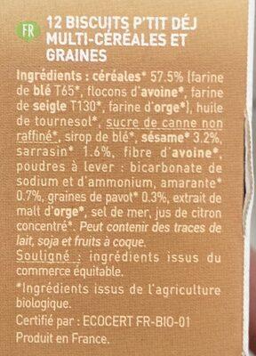 Biscuits P'tit Déj' Multicéréales Et Graines & Vegan - Ingredients