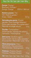 Équi'libre petit épautre et chocolat - Informations nutritionnelles