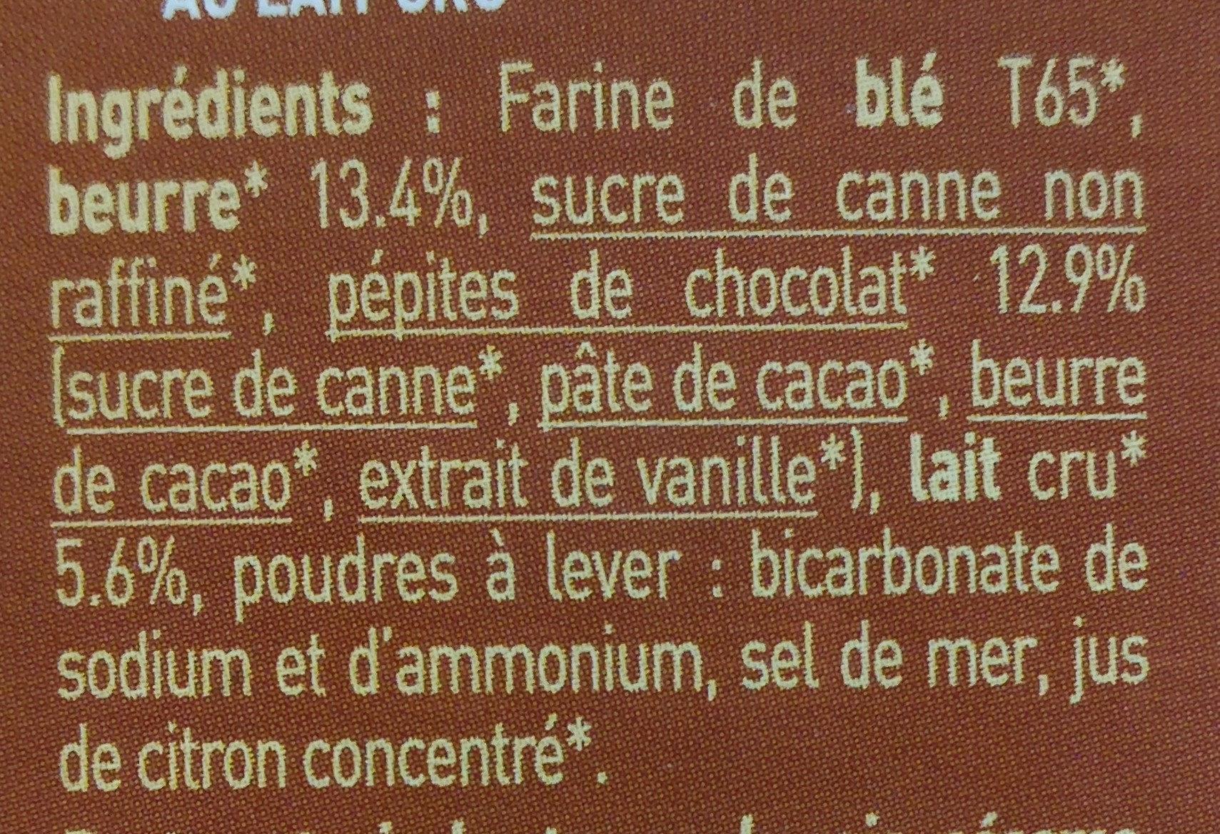 P'tit Beurre Pépites de Chocolat bio - Ingredients
