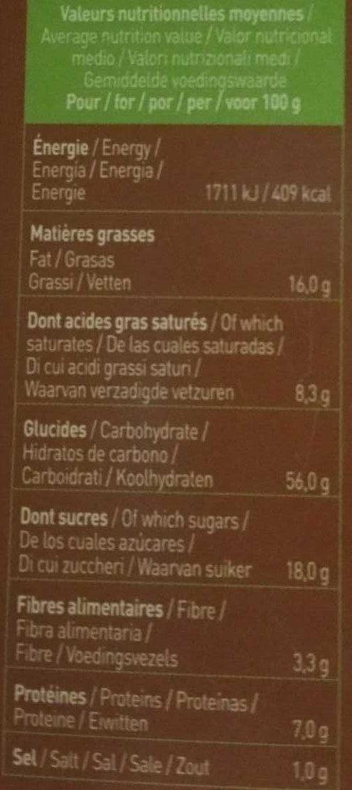 P'tit Beurre Pépites de Chocolat bio - Nutrition facts