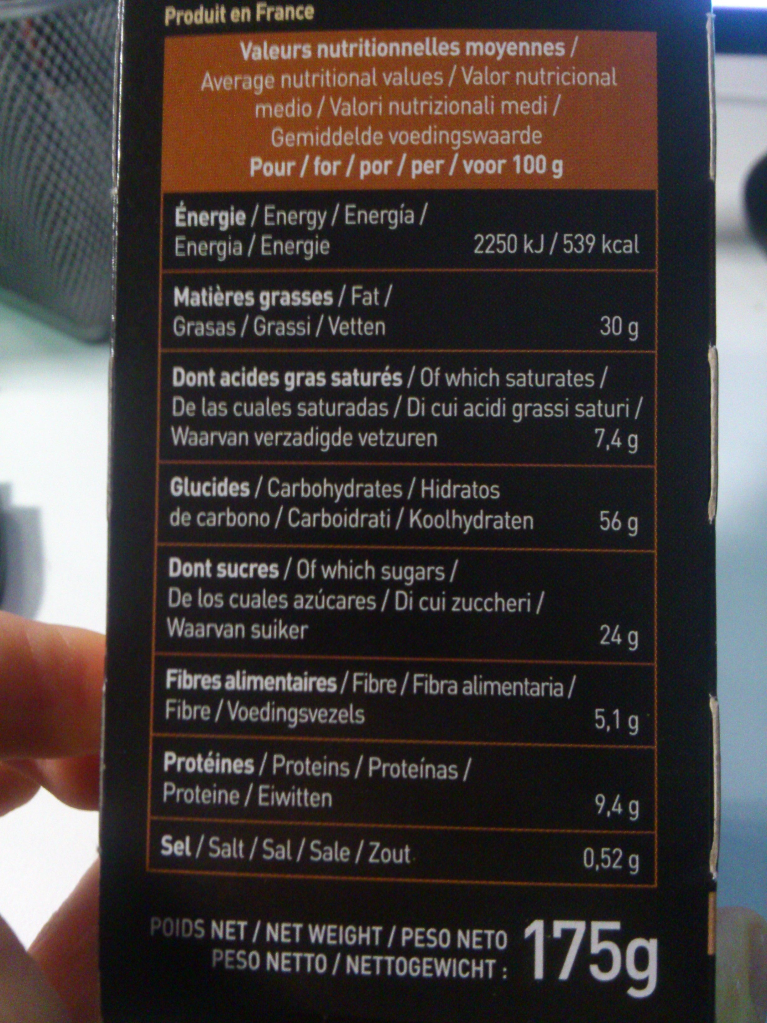 Fourrés praliné - Nutrition facts