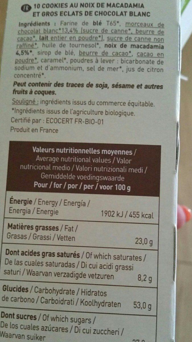 Cookies Macadamia - Ingrediënten - fr