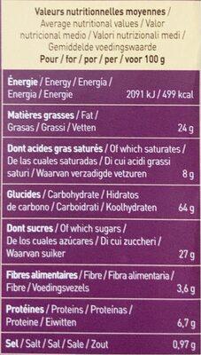 Cookies Nappés - Nutrition facts - fr