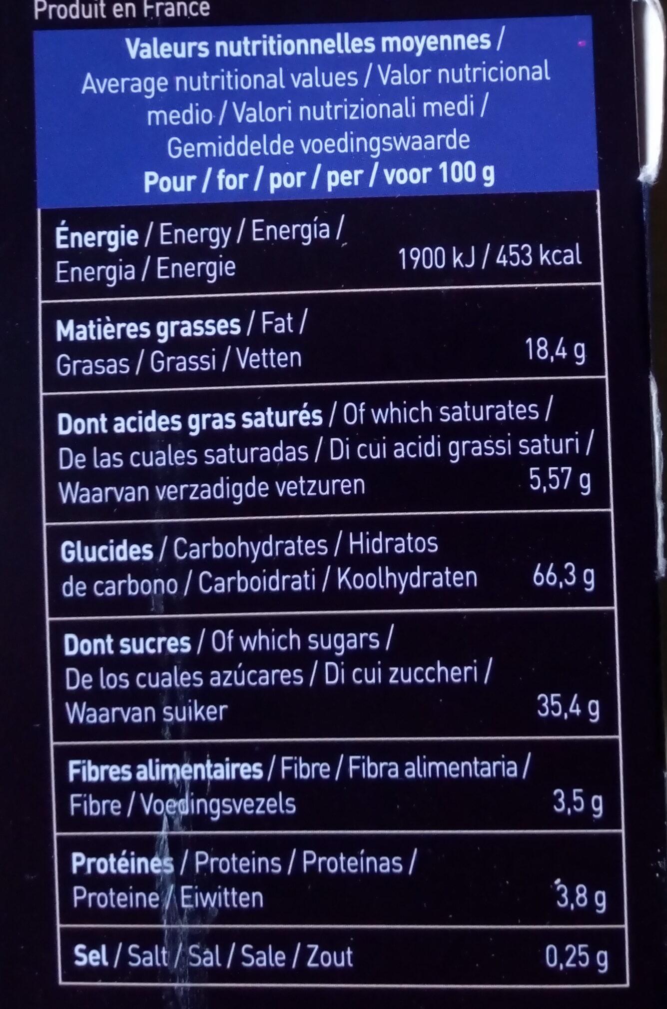 Fourrés myrtilles - Nutrition facts - fr