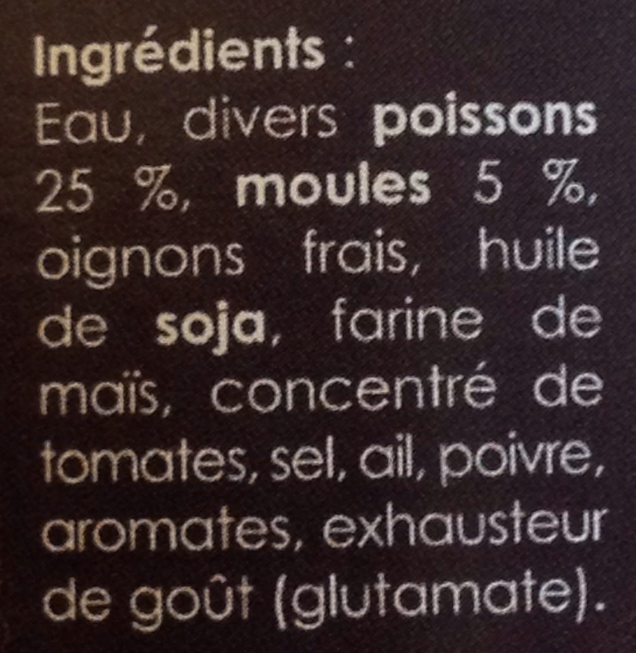 Soupe de poisson - Ingrediënten - fr